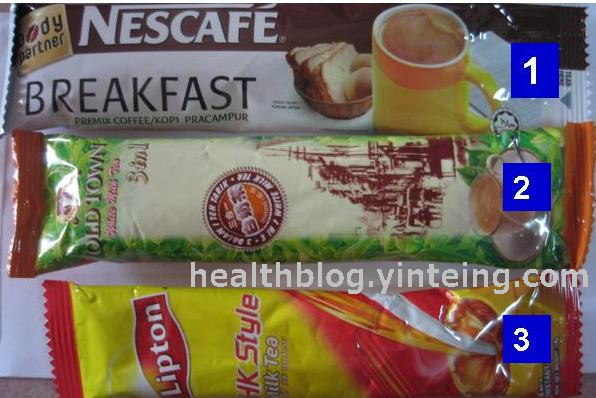1 NescafeBreakfast - Review of calories content of different types of premixed coffee/tea sold in Malaysia