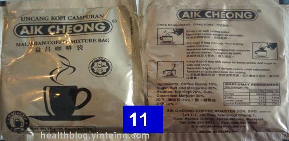 11 AikCheongKopiO - Review of calories content of different types of premixed coffee/tea sold in Malaysia