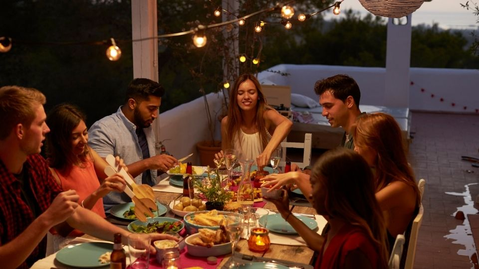 friends eating - Action plan after overeating at a social function