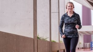 woman briskwalking 300x169 - Why being more physically active can improve your stomach problems
