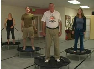 Rebounder senior 300x220 - Senior Exercising on Rebounder
