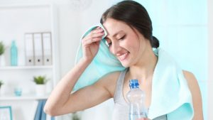 woman sweat 300x169 - On too much sweat, too little sweat and sugary drinks