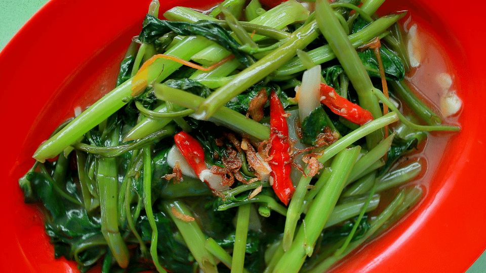 kangkung belacan dish - A boy dies after ingesting leeches from stir fried water spinach