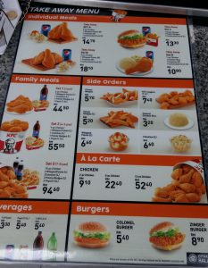 kfc takeawaymenu 233x300 - Calories in food by KFC (Kentucky Fried Chicken)